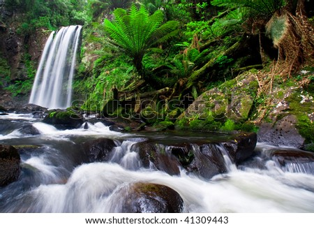 Hopetoun Falls on the Great Ocean Road - stock photo