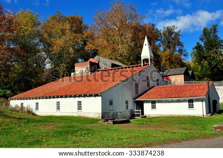 Hopewell Furnace, Pennsylvania - October 15, 2015:  The Cast House with its rooftop cupola contained the foundry furnace at Hopewell Furnace National Historic Site * - stock photo