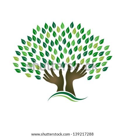 Hoping Tree hands - stock photo