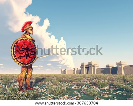 Hoplite at Troy Computer generated 3D illustration - stock photo