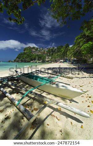 Hopping boat on the Boracay beach in Philippines - stock photo