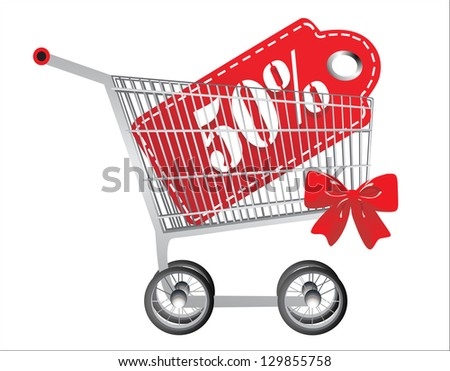 hopping cart and red fifty percentage discount, isolated on white background. - stock photo