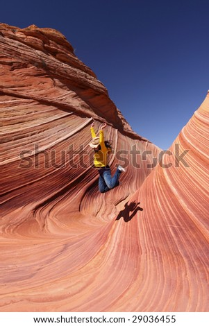 Hopping in the wave - stock photo