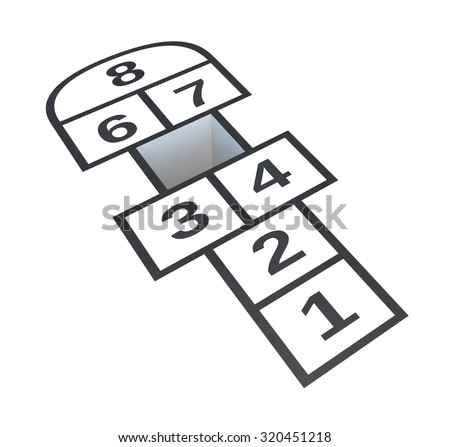 Hopscotch with hole on number 5, isolated on white background, 3d illustration - stock photo