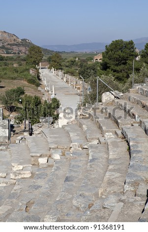 Horbour street from great theater, Ephesus, Izmir, Turkey