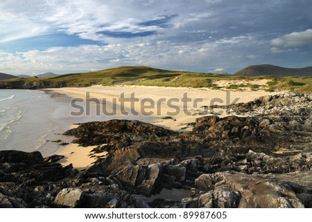 Horgabost Beach, South Harris in summer evening light. - stock photo