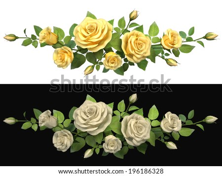 Horisontal border with roses branches on isolated background. 3d illustration. - stock photo