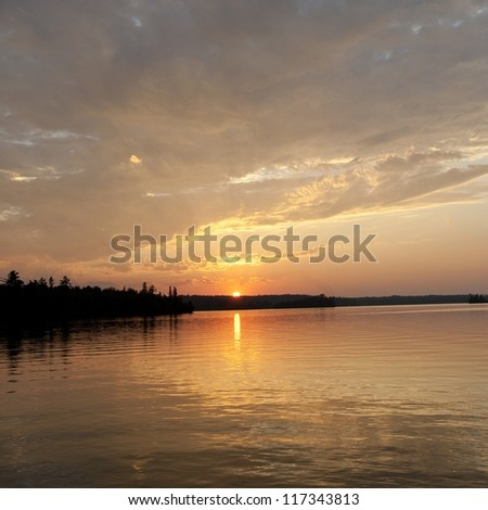 Horizon sky at dusk in Lake of the Woods, Ontario