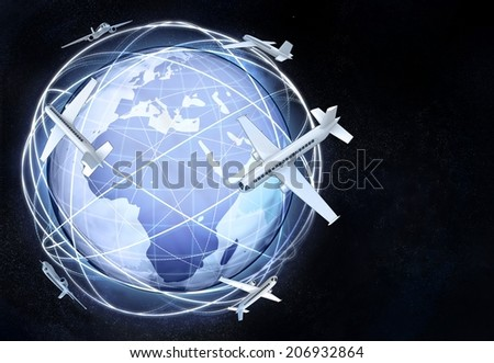 horizontal Africa earth globe view with flying planes illustration - stock photo