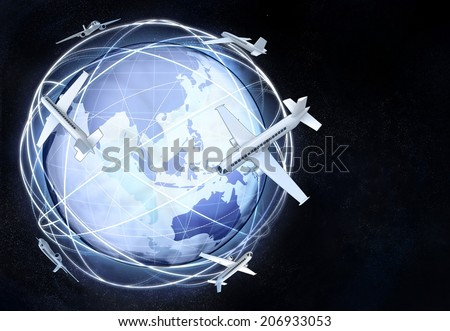 horizontal asia earth globe view with plane traffic illustration