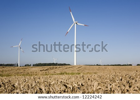 Horizontal Axis Wind Turbine (HAWT) surrounded by cereal fields