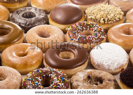 Horizontal Background of Donuts or Doughnuts - stock photo