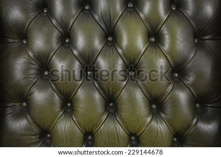 horizontal background with olive chesterfield leather close-up - stock photo