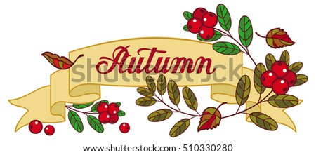 "Horizontal banner with cranberries and artistic written word ""Autumn"". Raster clip art."