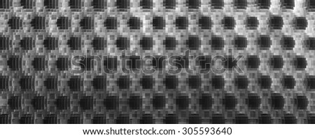 Horizontal black and white 3d extruded cubes abstraction background - stock photo