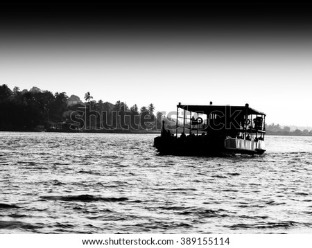Horizontal black and white indian ferry landscape silhouette backdrop