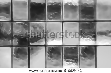 Horizontal black and white windows patchwork illustration backgr