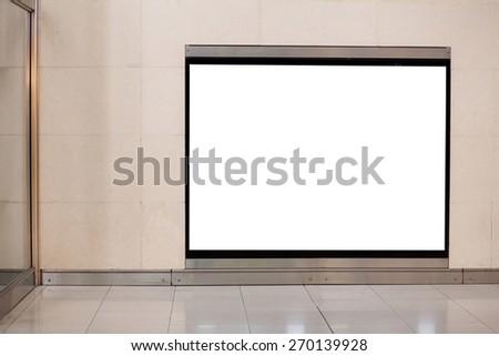 horizontal blank billboard on the wall in metro - stock photo