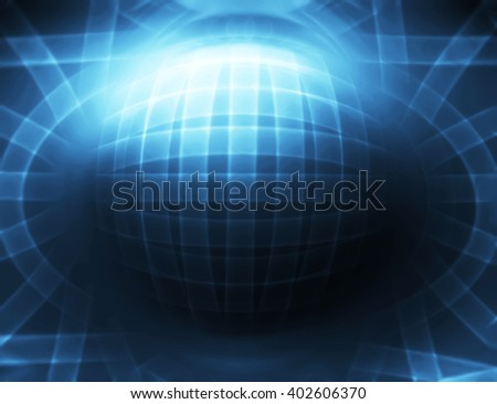 Horizontal blue 3d sphere abstract illustration background