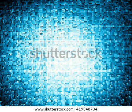 Horizontal blue extruded 3d cubes illustration background - stock photo