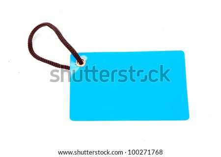 horizontal blue paper tag isolated on white background