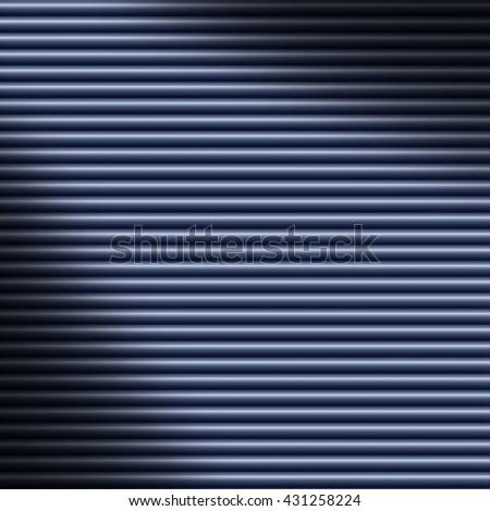 Horizontal blue tube background texture lit diagonally - stock photo