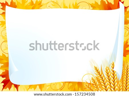 Horizontal card for thanksgiving . Empty blank with  Yellow Cereal Plant on ornate background with red, yellow and orange maple leaves. . - stock photo