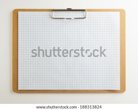 Horizontal clipboard with blank graph paper or (scaled paper)with natural white background. Square to image dimension.  - stock photo