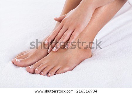Horizontal close-up of woman's body after bath - stock photo