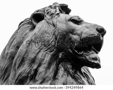 Horizontal closeup of a Trafalgar Square lion - stock photo