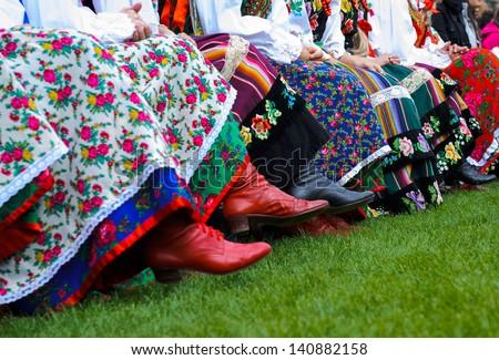 horizontal color image of traditional polish costumes - stock photo