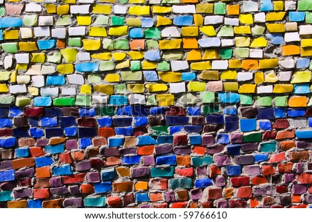 Horizontal colorful mosaic texture on the wall - stock photo