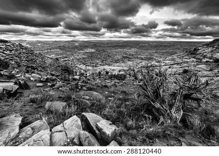 Horizontal Composition Black and White Utah Escalante Landscape Dramatic Stormy Sky - stock photo