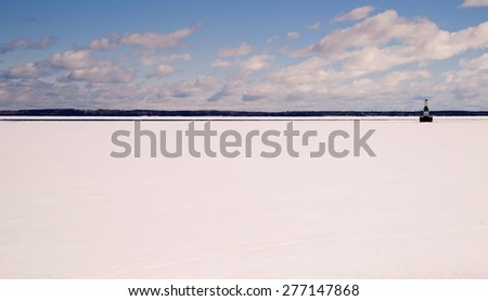 Horizontal composition frozen great lake northern united states - stock photo