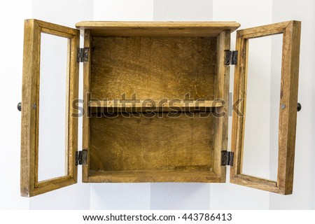Horizontal Composition Of Rustic Empty Wood Display Cabinet Mounted On Wall With Its Doors Open