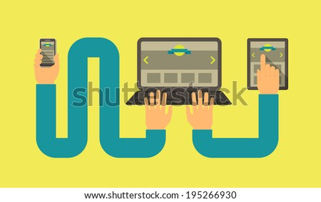 Horizontal conceptual illustration of responsive web design with a laptop, a tablet and a smart phone connected with hands - stock photo