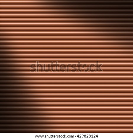 Horizontal copper-colored tube background texture lit diagonally