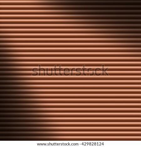 Horizontal copper-colored tube background texture lit diagonally - stock photo