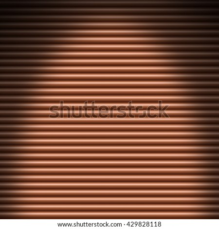 Horizontal copper-colored tube background texture lit from above - stock photo