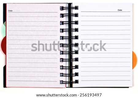 Horizontal Day Planner With Blank Pages Isolated On White