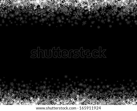 Horizontal frame with small snowflakes layered on top and bottom - stock photo