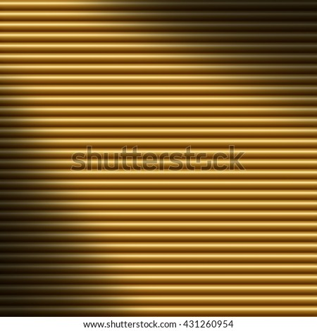 Horizontal gold tube background texture, lit diagonally - stock photo