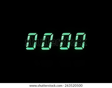 Horizontal green digital zero display alarm clock background backdrop