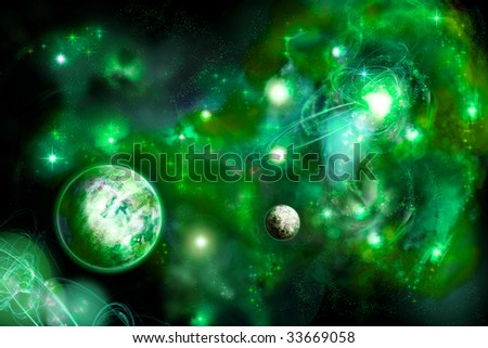Horizontal green space with two planets and bright nebula