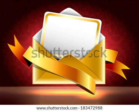 Horizontal illustration.  Golden paper envelope with a postcard and ribbons on black and red background with patterns. Holiday vip invitation.  - stock photo