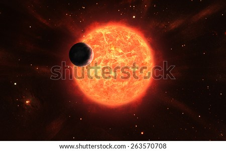 Horizontal illustration of a huge active sun with lots of protuberances and sun spots and its satellite - stock photo