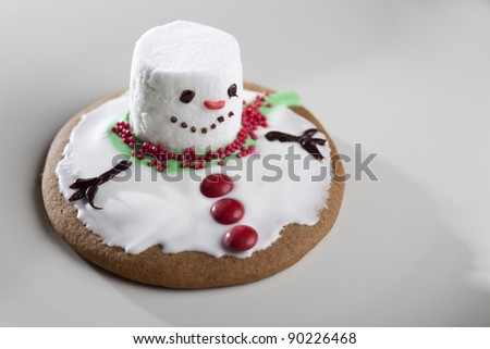 Horizontal image of a cookie, made to look like a melting snowman.