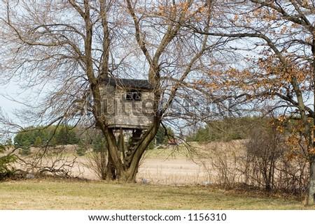 Horizontal image of a treehouse - stock photo
