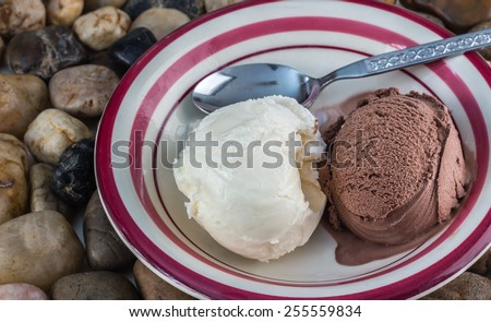 horizontal image of a white bowl with pink rim with two scoops of chocolate and a vanilla ice cream balls lying next to each other with a spoon sitting on a bed of pebbles.