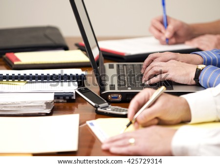 Horizontal Image of Business People At A Meeting - stock photo